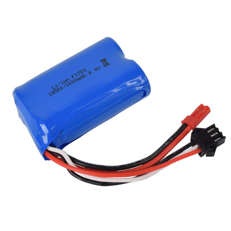 6.4v 1000mah 15C 18500 Li-ion Battery For RC Car Toys Battery JST-2P Free Shipping