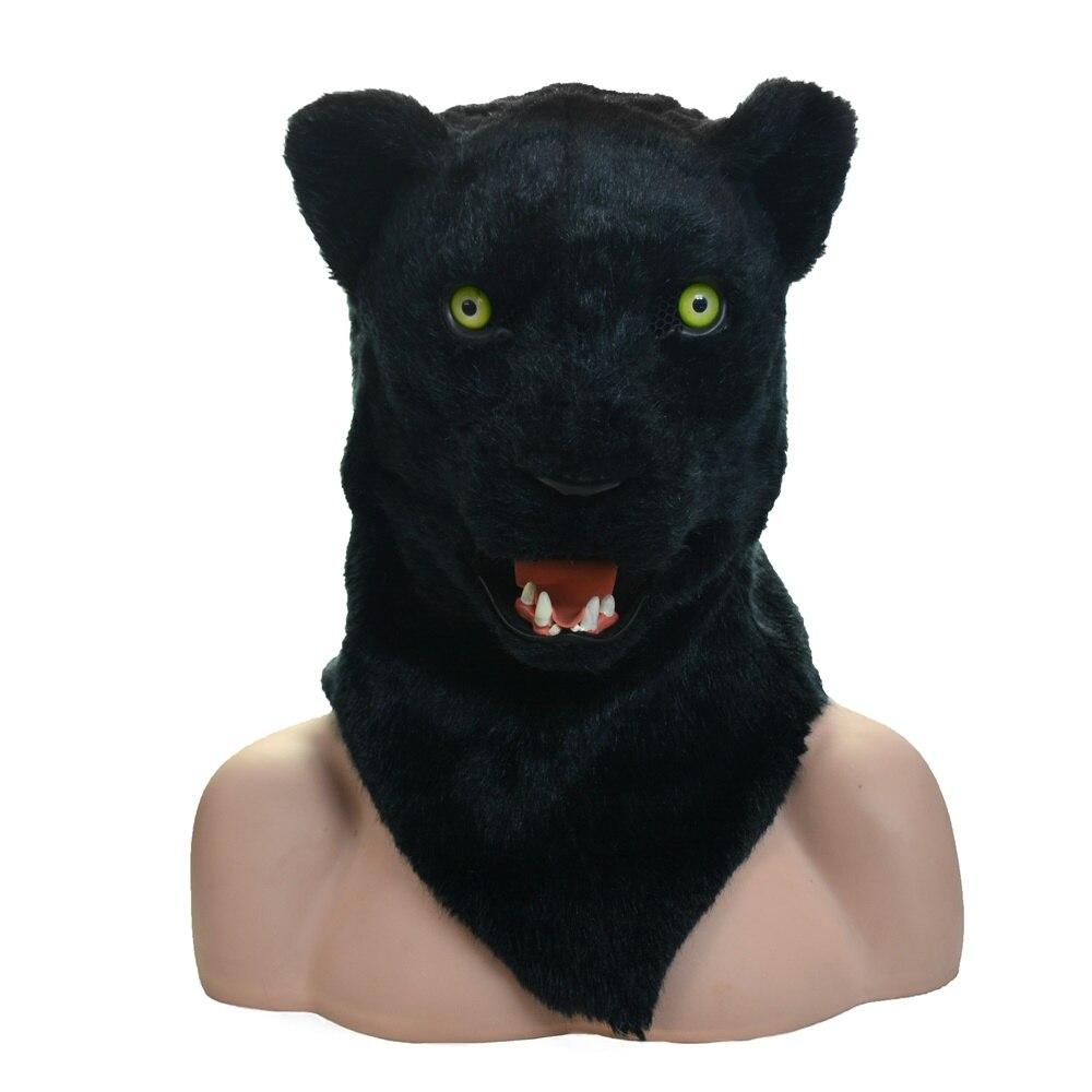 Taille de la tête de l'adulte personnalisé panthère visage réel animal en mouvement bouche animal fête masque