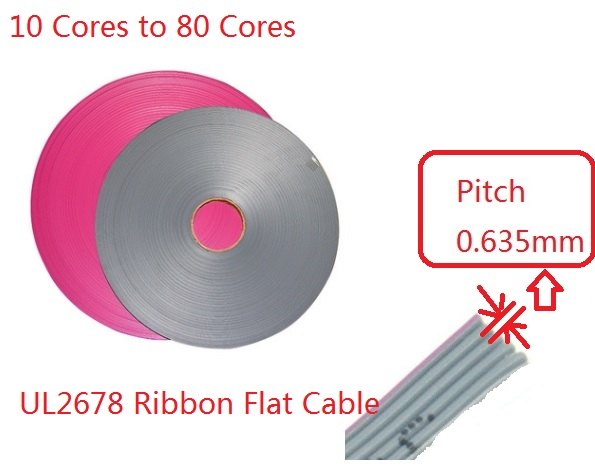 1 m 0.635 <font><b>mm</b></font> Pitch 10 Pin 12 14 16 20 26 30 34 40 60 68 80 Cores Ribbon Flat Cable UL2678 AWG 30 For <font><b>1.27</b></font> <font><b>mm</b></font> IDC type Connector image