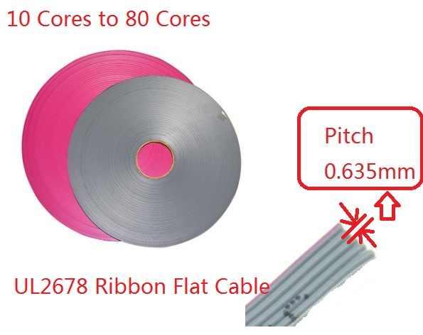 1 m 0.635mm 10 Broches 12 14 16 20 26 30 34 40 60 68 80 Noyaux Ruban Plat Câble UL2678 AWG 30 Pour 1.27mm IDC type Connecteur