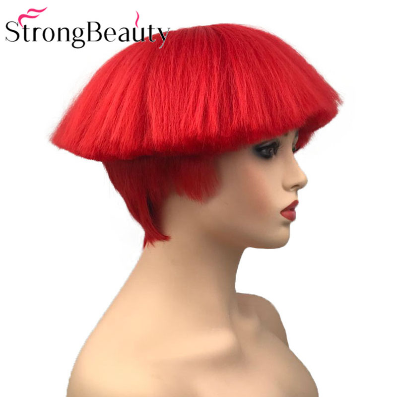 StrongBeauty Short Yaki Straight Synthetic Wigs Red/White/Blonde/Black Mushroom Head Wig Heat Resistant Hair