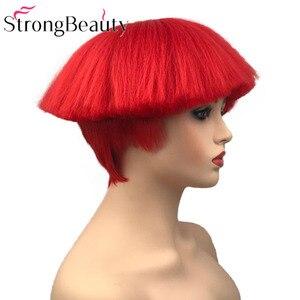 Image 3 - StrongBeauty קצר יקי ישר סינטטי פאות אדום/לבן/בלונדינית/שחור פטריות ראש פאה חום שיער עמיד