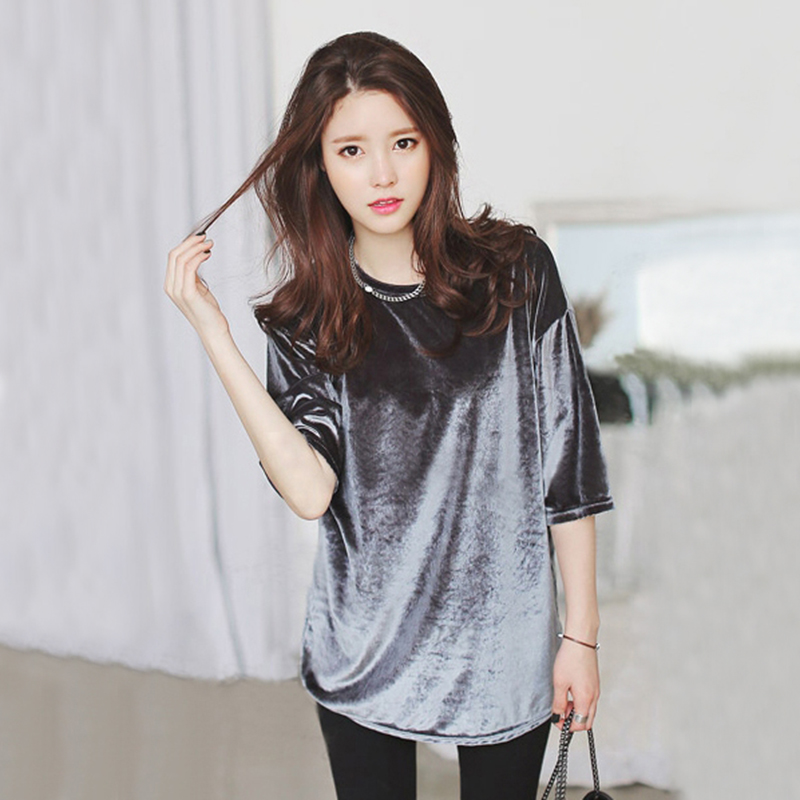 2015 Women 39 S Fashion Korean Gold Velvet Shirt Large Size Women 39 S Summer Casual Solid Color In T
