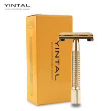 лучшая цена Double Edge Safety Razor Classic Safety Razor Gold color Butterfly Open WEISHI Razor, 1 Handle & 5 blades