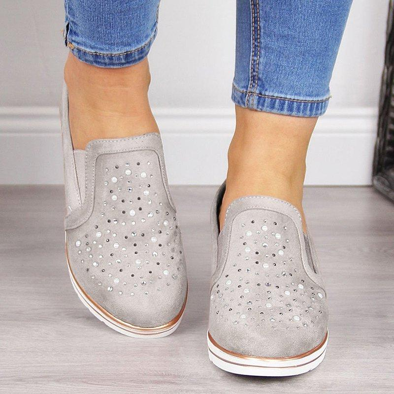 Summer Women Wedge Canvas Shoes 2019 New Casual Ladies Single Shoes Plus Size Breathable Rhinestone Slip-on Women Sandals Pumps