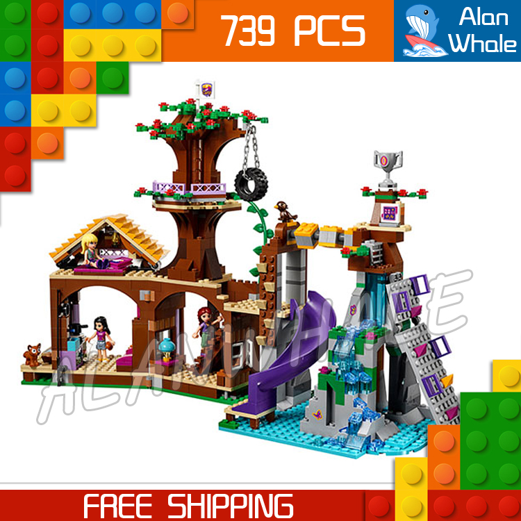ФОТО 739pcs Bela 10497 Friends Adventure Camp Tree House Model Building Bricks Blocks Emma Stephanie Toys girls Compatible With Lego