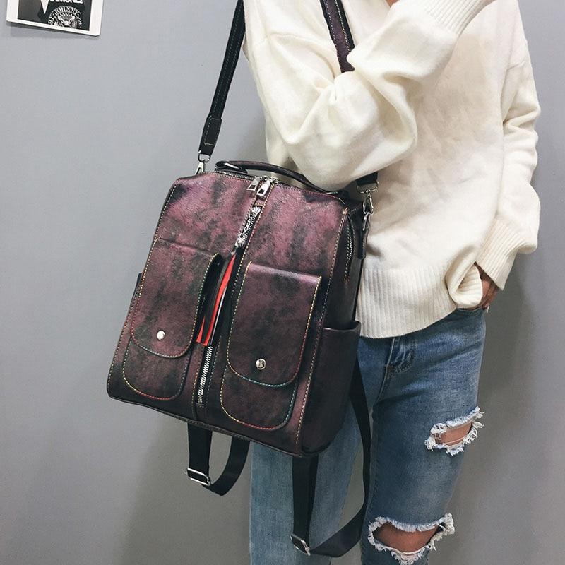 Retro Leather Women Backpack Zipper School Backpacks For Teenage Girls Bag Large Capacity Multifunction Mochila Feminina Retro Leather Women Backpack Zipper School Backpacks For Teenage Girls Bag Large Capacity Multifunction Mochila Feminina XA227H