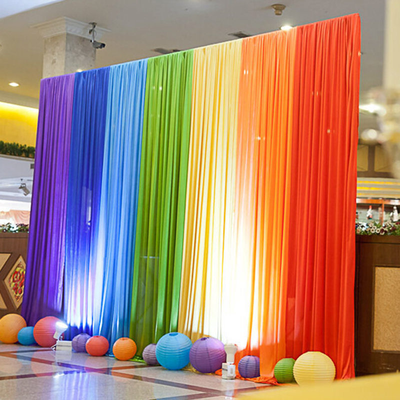 Wedding backdrops new arrival colorful rainbow wedding backgrounds drapery for stage decoration 10 ft x 10 ft in Party Backdrops from Home Garden