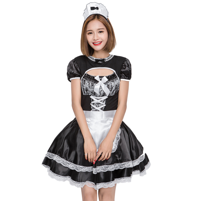 <font><b>Halloween</b></font> <font><b>Sexy</b></font> French Wench <font><b>Costume</b></font> Japan Cute Girl <font><b>Anime</b></font> Maid Lace Satin Outfit image