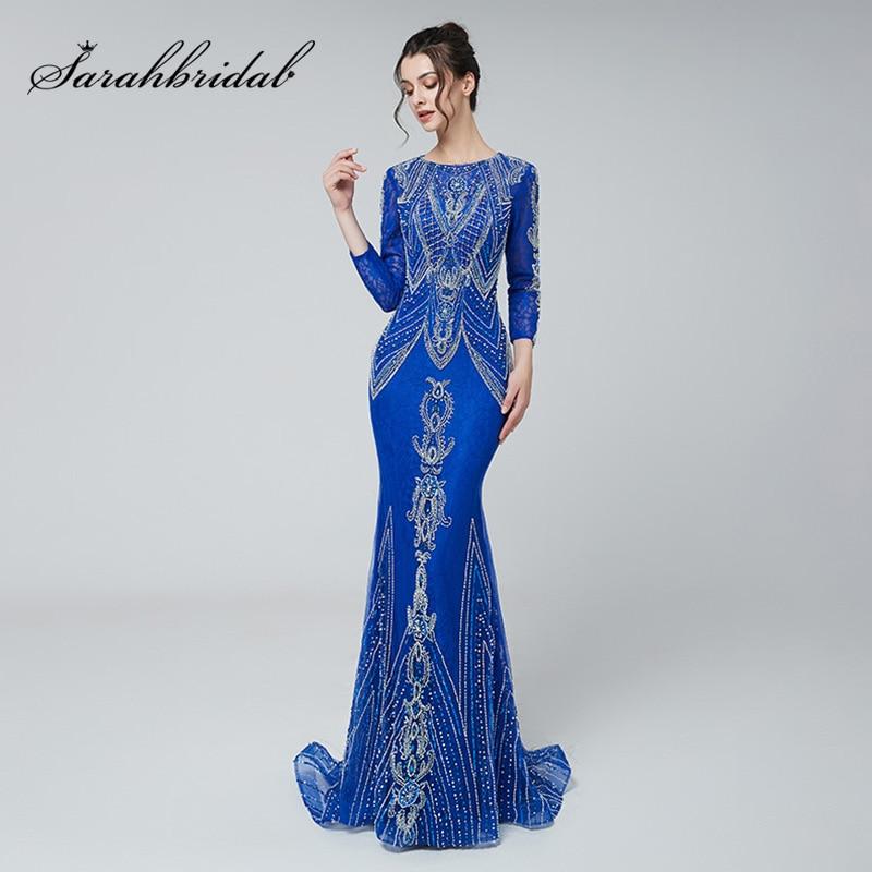 Formale Delle Donne Eleganti Della Sirena Da Sera Abiti A Maniche Lunghe di Lusso Che Borda Royal Blu di Promenade Del Partito Dell'abito Dubai Arabo Musulmano Vestito 485
