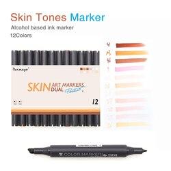 ST12 مانغا ألوان مزدوجة العضوية فرشاة علامات SkinTones أقلام تلوين مجموعة ل رسم التصميم الجرافيكي أرقام الكرتون هزلية الجلد اللون