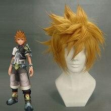 Kingdom Hearts Roxas Pruik Ventus Cosplay Pruik 30 cm Korte Rechte Synthetisch Haar Man Game Anime Kostuum Partij Pruik Gift golden
