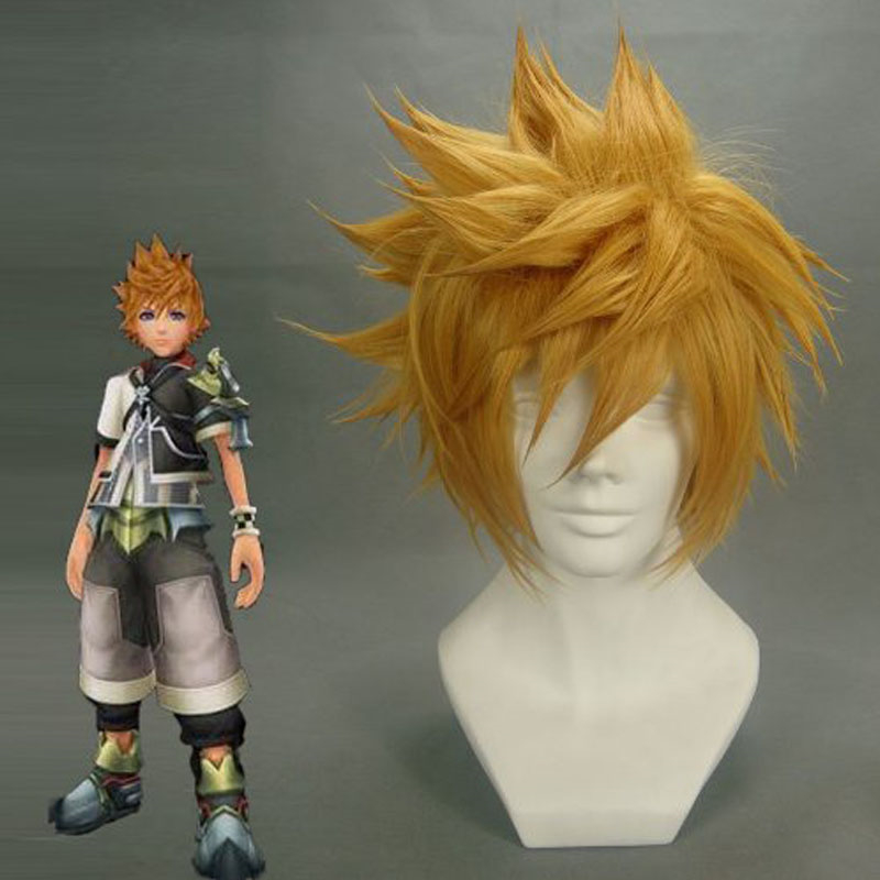Kingdom Hearts Roxas Wig Ventus Cosplay Wig 30cm Short Straight Synthetic Hair Man Game Anime Costume Party Wig Gift Golden