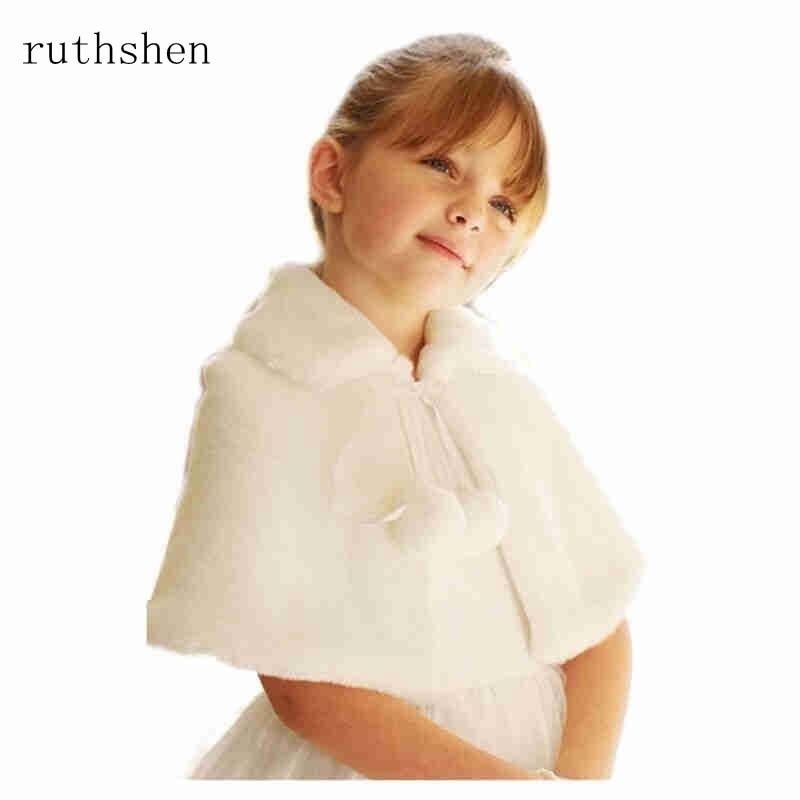 f2c436b6d Ruthshen blanco marfil boda fiesta flor chica de piel envuelve cabo niños  Otoño Invierno Bolero chaquetas en Stock