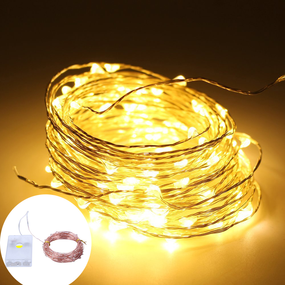 10M 33FT 100Leds Copper Wire Waterproof LED String Lights 3*AA Battery Powered Holiday Party Wedding Christmas Decoration Lights