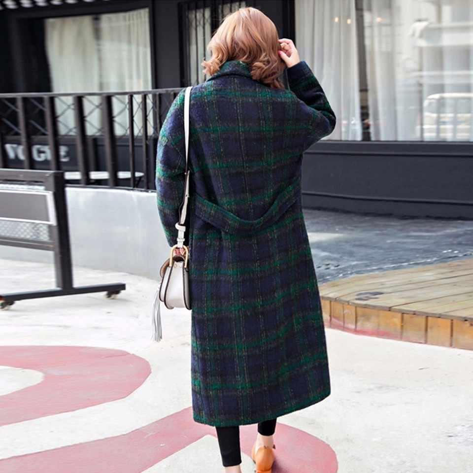 Мода 2019 Зима Новый женский толстый шерстяной пальто Свободный теплый женский кашемировый пиджак с лацканами воротник шерсть оверсайз пальто Oka668