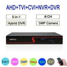 Xmeye Hi3531A Red Panel 8CH 5MP wifi Hybrid Coaxial 6 in 1 XVI TVI CVI NVR AHD CCTV DVR Surveillance Video Recorder FreeShipping
