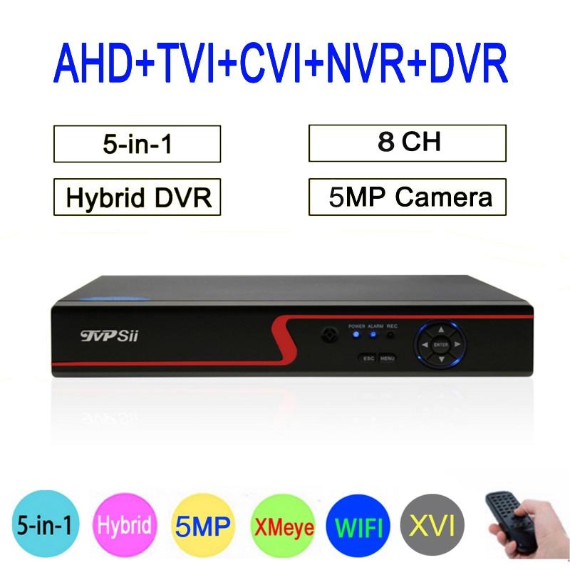 Xmeye Hi3531A Rouge Panneau 8CH 5MP wifi Coaxial Hybride 6 dans 1 XVI TVI CVI NVR AHD CCTV DVR Surveillance vidéo Enregistreur Livraison Gratuite