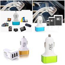 DC 5,0 V 2.1A/2A/1A автомобиля Универсальный 3 Порты и разъёмы USB Зарядное устройство телефона автомобильное зарядное устройство USB адаптер для прикуривателя