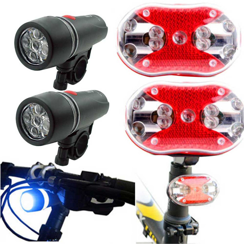 2 Sets Bright Bicycle Bike Cycling Lights 5 LED Head Light + 9 LED Rear Light Ultra-bright LED Bike Safety Taillight #2A27