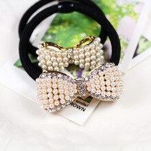 Korean jewelry wholesale pearl diamond square mahogany hair rope bow hair ring Tousheng headdress flower coffee square hair ring