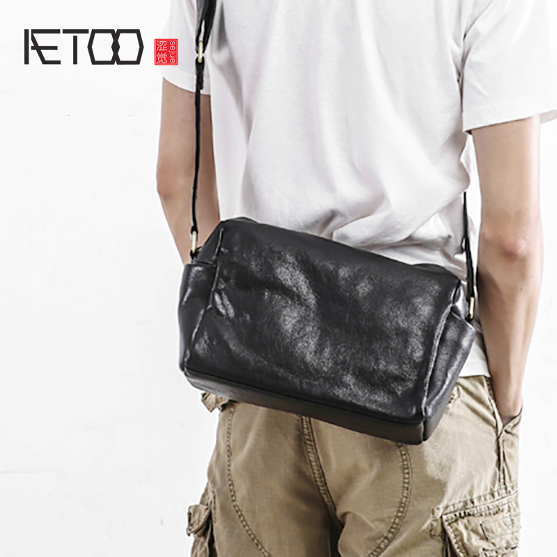 AETOO Leather male bag casual cow purse man single shoulder soft leather crossbody bag simple oblique cross Package