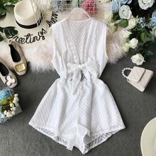 NiceMix 2019 New Fashion Women's Rompers Summer V-neck Hollow Hook Flower Lace Waist Sleeveless Jumpsuit Wide Leg Pants rompers(China)