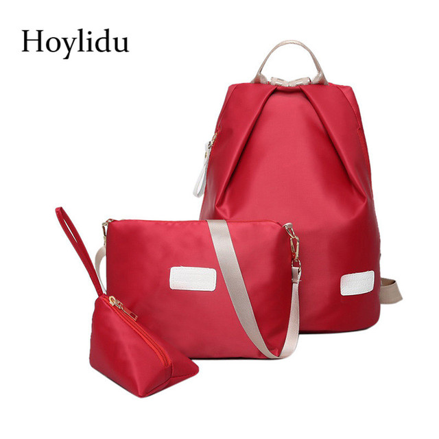 830b29c63b81 2018 Women 3Pcs Set Composite Bags Backpack Korean Fashion Nylon Business  Large Capacity Travel Casual Tote Party Bag For Ladies