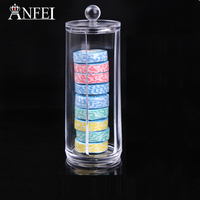 Cylindrical Rotatable Lipstick Cotton Pads Holder Display Stand Cosmetic Organizer Makeup Case Cosmetic Storage Box