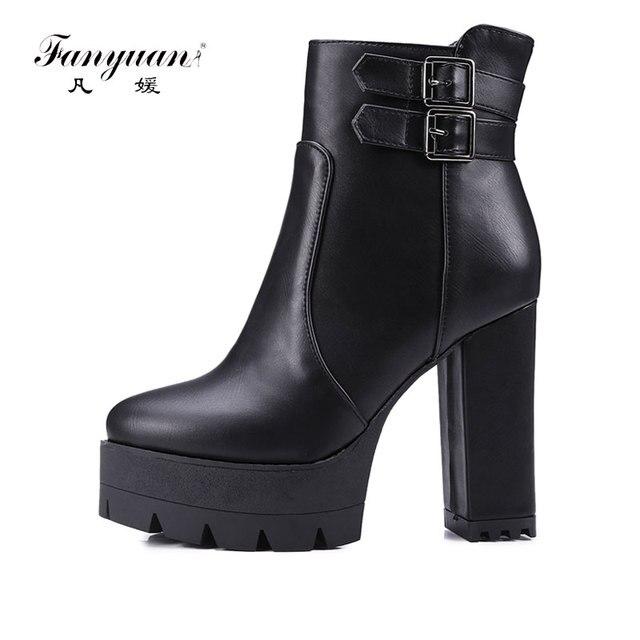 Fanyuan 2018 Ultra Sexy zapatos de tacones altos mujer punta redonda corta  montar botas de tacón 26bbb2cea83a