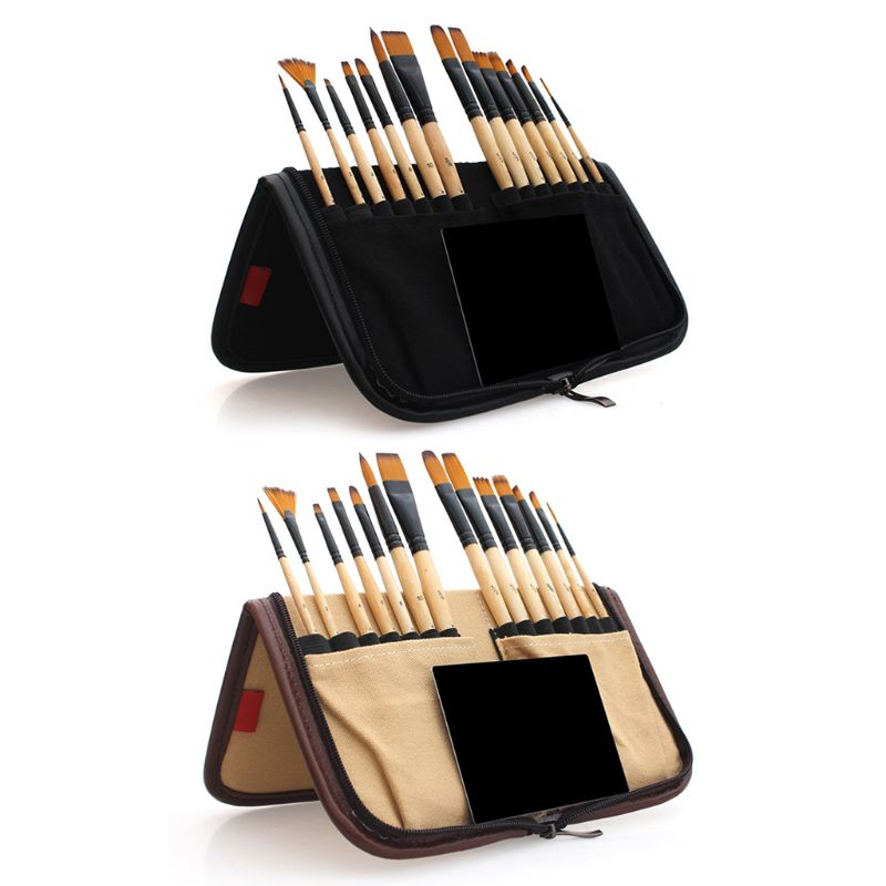 14pcs Paint Brushes Acrylic Watercolor Brush With Pencil Case Storage Bag For School Artists Painting Drawing