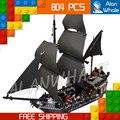 804 unids serie pirata piratas del caribe 16006 negro perla modelo building blocks establece ladrillos juguetes compatibles con lego