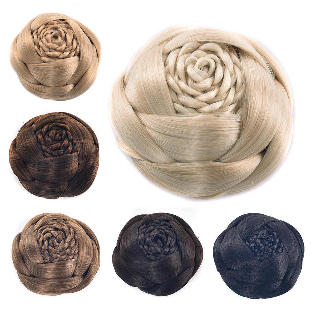 Gres włókno termoodporne kształt kwiatu czarne brązowe kobiety syntetyczne włosy bułeczki Clip-in pleciony Lady Chignons dla narzeczonych/Party