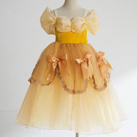 Girls Cartoon Dress Kids Yellow Fancy Dress Children Cosplay Beauty Beast Belle Princess Costumes Party Dress Girls D043
