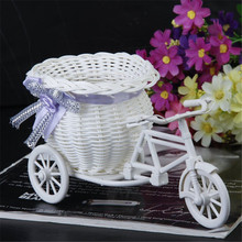 Excellent White Tricycle Bike Flower Basket Container For Flower Plant Home Decor Vase