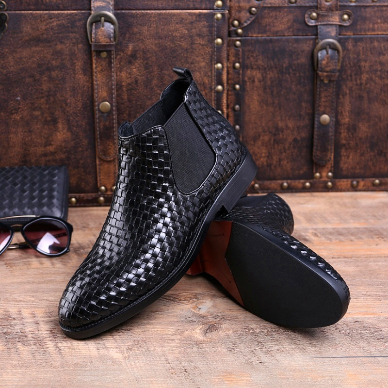 New Brand Handmade Chelsea Boots Men 39 s Genuine Leather Dress Boots Shoes Luxury Male Vintage Weaving Ankle Boots in Chelsea Boots from Shoes