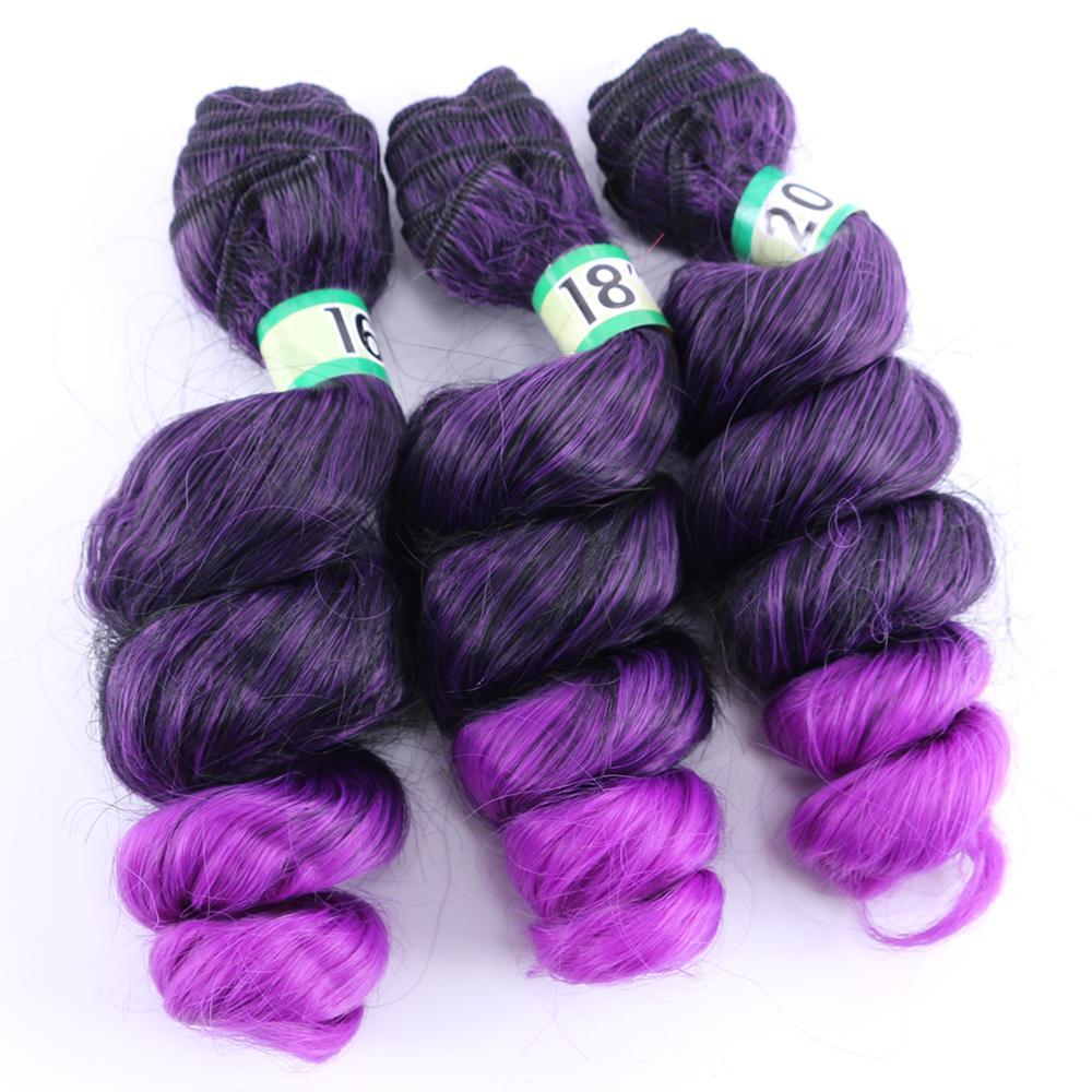 Two tone ombre black to purple red burgundy Loose wave hair extension High temperature synthetic hair bundle for black women(China)