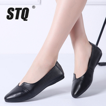 STQ 2020 Autumn Women Ballet Flats Genuine Leather Shoes Slip On Loafers Women Flats Woman Shoes Black Grandmother Shoes 1189