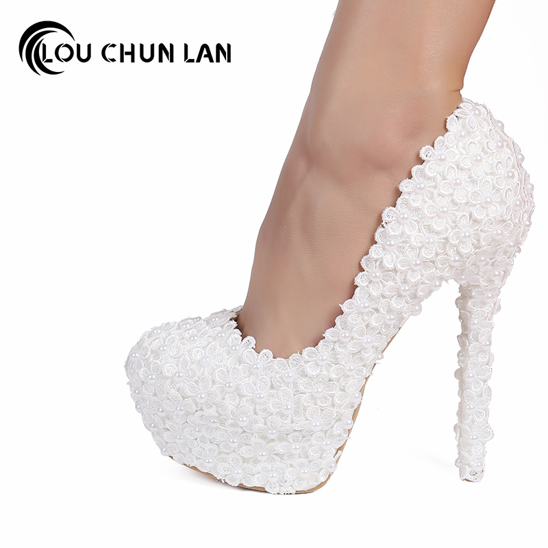 Pumps White Lace Bridal Shoes Pearl Flower Formal Dress Shoes Round Toe shallow mouth Thin Heels Wedding Shoes Ultra High HeelsPumps White Lace Bridal Shoes Pearl Flower Formal Dress Shoes Round Toe shallow mouth Thin Heels Wedding Shoes Ultra High Heels