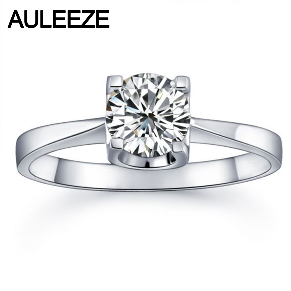 Classic Prong Setting 9K White Gold Engagement Rings For Women Round 1CT NSCD Simulated Diamond Solitaire Ring Wedding JewelryClassic Prong Setting 9K White Gold Engagement Rings For Women Round 1CT NSCD Simulated Diamond Solitaire Ring Wedding Jewelry