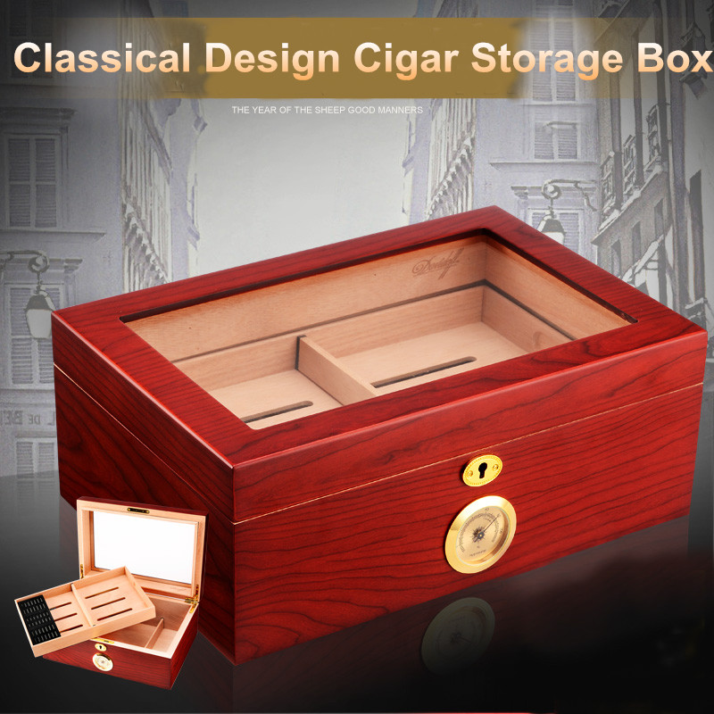 Good Price Quality Hot Sale Wooden Red Color Cigar Humidor