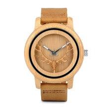 BOBO BIRD CA27 Hollow Deer Head Bamboo Wood Casual Watches for Men Women Ladies Leather Strap Quartz Watch free shipping
