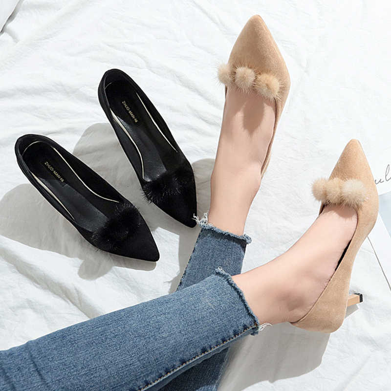 3cec96b5f1e1 2018 New Style Women high heeled black shoes Ball Fur Pointed Toe Pumps  Faux Suede Dress