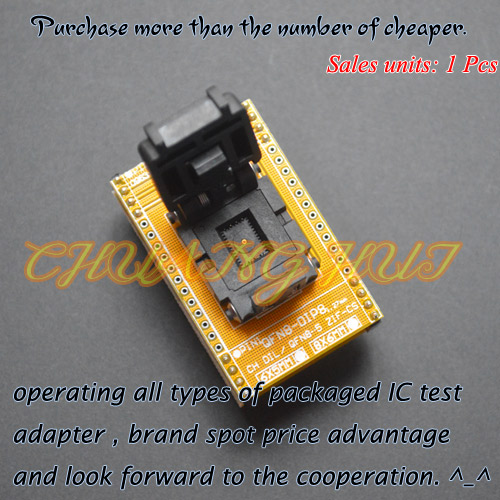Clam-Shell Socket QFN8 to DIP8 Programming Adapter WSON8 DFN8 MLF8 test socket Pitch=1.27mm Size=6x8mm qfn 0808 01 adapter qfn8 d8 wson8 dip8 programming adapter dfn5x6a 8 test socket