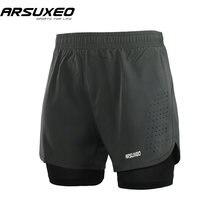 Arsuxeo 2018 мужские шорты для бега 2 в 1 быстросохнущие сетчатые