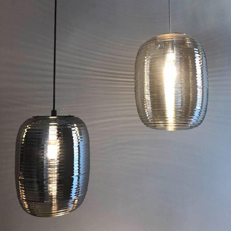 Постмодерн мансарда подвесной светильник в сдержанном стиле гальваническим Стекло Обеденная бар Кухня светильники Бесплатная доставка