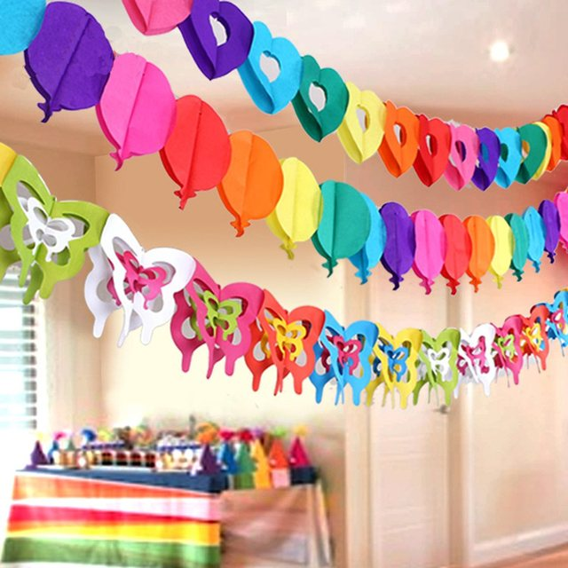 Hanging Paper Chain Flower Butterfly Banner Wedding Birthday Events