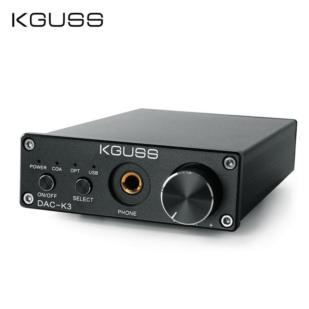 KGUSS DAC-K3 TPA6120 2.0 MINI HIFI USB DAC Decoded Audio Headphone Amplifier 24BIT 192KHz OPA2134 AMP DC12V  US/EU
