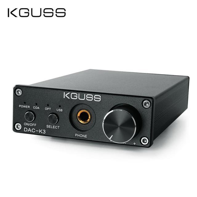 KGUSS DAC-K3 TPA6120 2.0 MINI HIFI USB DAC Giải Mã Âm Thanh Tai Nghe Khuếch Đại 24BIT 192 KHz OPA2134 AMP DC12V MỸ/ EU
