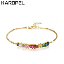 Colorful Zircon Rainbow Bar Bracelet Crystal Girls Adjustable Chain Boho Bohemian Bracelet Rainbow Jewelry Zircon Charm Bracelet патибум колпачок забавные зверята 8шт